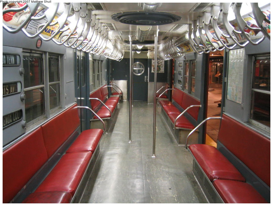 (178k, 1044x788)<br><b>Country:</b> United States<br><b>City:</b> New York<br><b>System:</b> New York City Transit<br><b>Location:</b> New York Transit Museum<br><b>Car:</b> R-17 (St. Louis, 1955-56) 6609 <br><b>Photo by:</b> Matthew Shull<br><b>Date:</b> 8/31/2007<br><b>Notes:</b> Interior<br><b>Viewed (this week/total):</b> 1 / 1577
