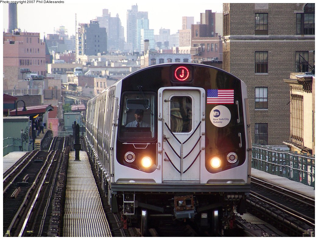 (233k, 1044x788)<br><b>Country:</b> United States<br><b>City:</b> New York<br><b>System:</b> New York City Transit<br><b>Line:</b> BMT Nassau Street/Jamaica Line<br><b>Location:</b> Myrtle Avenue <br><b>Route:</b> J<br><b>Car:</b> R-160A-1 (Alstom, 2005-2008, 4 car sets)  8328 <br><b>Photo by:</b> Philip D'Allesandro<br><b>Date:</b> 10/1/2007<br><b>Viewed (this week/total):</b> 0 / 4120