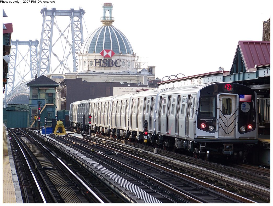 (241k, 1044x788)<br><b>Country:</b> United States<br><b>City:</b> New York<br><b>System:</b> New York City Transit<br><b>Line:</b> BMT Nassau Street/Jamaica Line<br><b>Location:</b> Marcy Avenue <br><b>Route:</b> Z<br><b>Car:</b> R-160A-1 (Alstom, 2005-2008, 4 car sets)  8329 <br><b>Photo by:</b> Philip D'Allesandro<br><b>Date:</b> 10/1/2007<br><b>Viewed (this week/total):</b> 0 / 2196