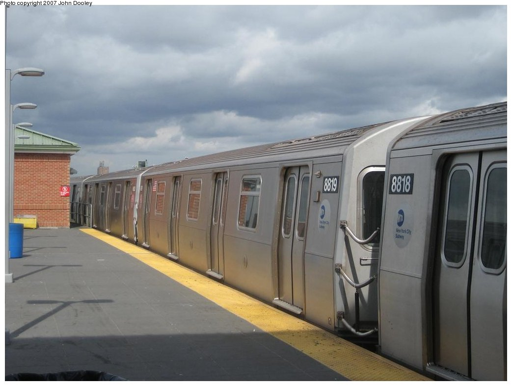 (119k, 1043x787)<br><b>Country:</b> United States<br><b>City:</b> New York<br><b>System:</b> New York City Transit<br><b>Location:</b> Coney Island/Stillwell Avenue<br><b>Route:</b> N<br><b>Car:</b> R-160B (Kawasaki, 2005-2008)  8819 <br><b>Photo by:</b> John Dooley<br><b>Date:</b> 10/1/2007<br><b>Viewed (this week/total):</b> 0 / 1473