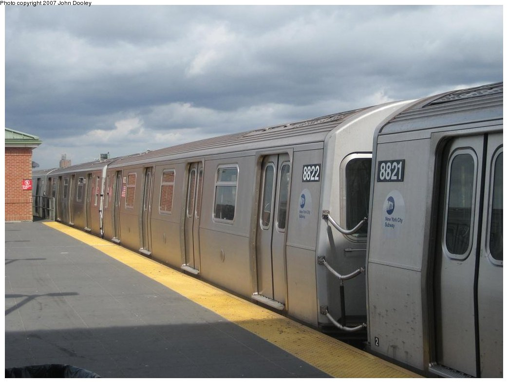 (120k, 1043x787)<br><b>Country:</b> United States<br><b>City:</b> New York<br><b>System:</b> New York City Transit<br><b>Location:</b> Coney Island/Stillwell Avenue<br><b>Route:</b> N<br><b>Car:</b> R-160B (Kawasaki, 2005-2008)  8822 <br><b>Photo by:</b> John Dooley<br><b>Date:</b> 10/1/2007<br><b>Viewed (this week/total):</b> 2 / 2137