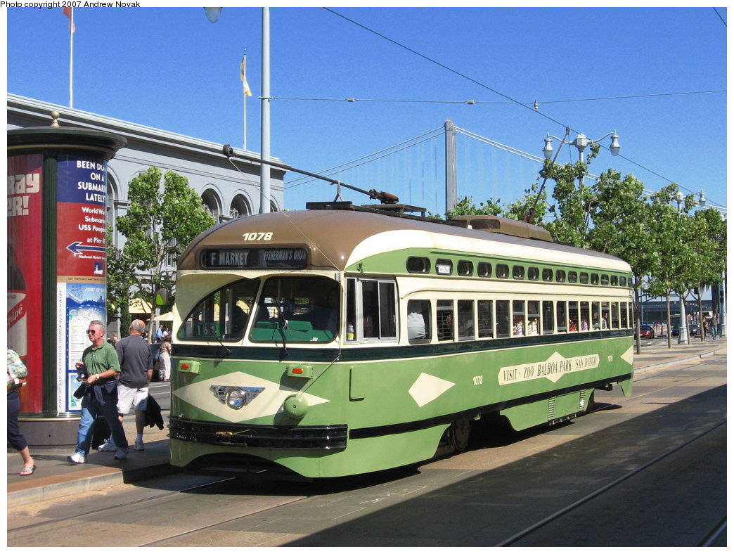 (212k, 1044x788)<br><b>Country:</b> United States<br><b>City:</b> San Francisco/Bay Area, CA<br><b>System:</b> SF MUNI<br><b>Location:</b> Embarcadero/Ferry Building <br><b>Car:</b> SF MUNI PCC (Ex-NJTransit, Ex-Twin City) (St. Louis Car Co., 1946-1947)  1078 <br><b>Photo by:</b> Andrew Novak<br><b>Date:</b> 8/3/2007<br><b>Viewed (this week/total):</b> 2 / 1046