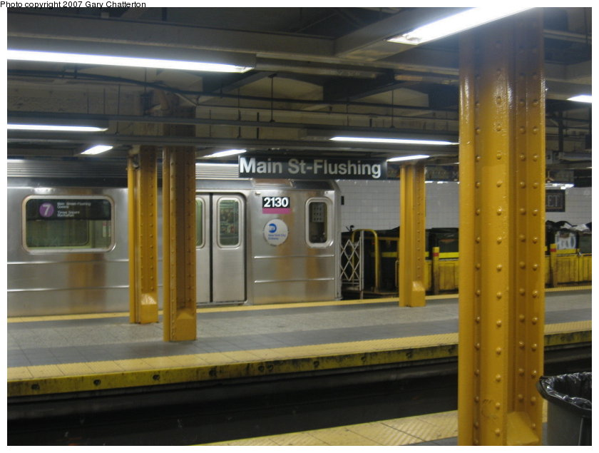 (94k, 840x635)<br><b>Country:</b> United States<br><b>City:</b> New York<br><b>System:</b> New York City Transit<br><b>Line:</b> IRT Flushing Line<br><b>Location:</b> Main Street/Flushing <br><b>Route:</b> Work Service<br><b>Car:</b> R-62A (Bombardier, 1984-1987)  2130 <br><b>Photo by:</b> Gary Chatterton<br><b>Date:</b> 9/23/2007<br><b>Viewed (this week/total):</b> 1 / 1903