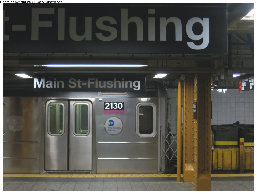 (79k, 840x635)<br><b>Country:</b> United States<br><b>City:</b> New York<br><b>System:</b> New York City Transit<br><b>Line:</b> IRT Flushing Line<br><b>Location:</b> Main Street/Flushing <br><b>Route:</b> Work Service<br><b>Car:</b> R-62A (Bombardier, 1984-1987)  2130 <br><b>Photo by:</b> Gary Chatterton<br><b>Date:</b> 9/23/2007<br><b>Viewed (this week/total):</b> 1 / 1864
