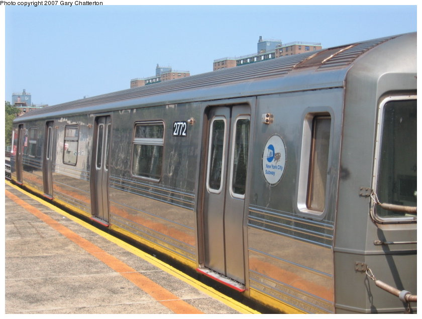 (108k, 840x635)<br><b>Country:</b> United States<br><b>City:</b> New York<br><b>System:</b> New York City Transit<br><b>Line:</b> BMT West End Line<br><b>Location:</b> Bay 50th Street <br><b>Route:</b> D<br><b>Car:</b> R-68 (Westinghouse-Amrail, 1986-1988)  2772 <br><b>Photo by:</b> Gary Chatterton<br><b>Date:</b> 9/8/2007<br><b>Viewed (this week/total):</b> 2 / 1741