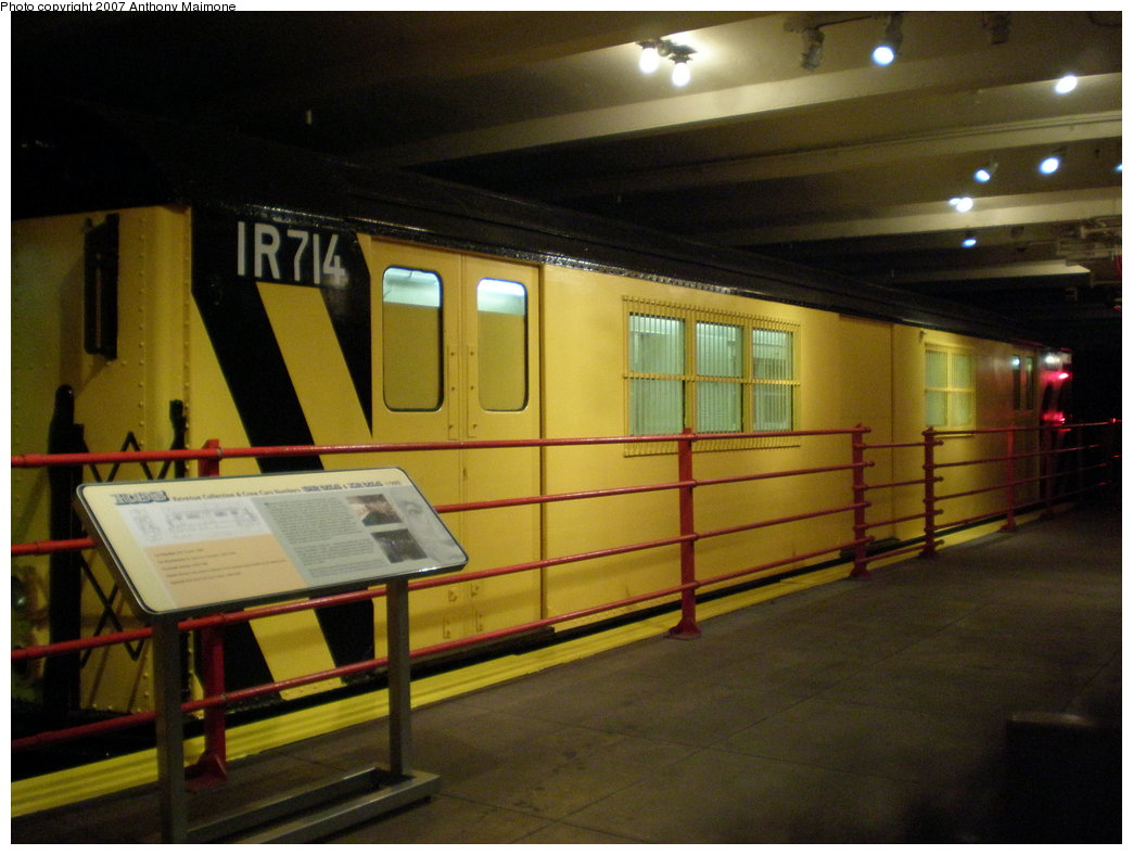 (164k, 1044x788)<br><b>Country:</b> United States<br><b>City:</b> New York<br><b>System:</b> New York City Transit<br><b>Location:</b> New York Transit Museum<br><b>Car:</b> R-95 Locker Car (Revenue Train) 1R714 (ex-7422)<br><b>Photo by:</b> Anthony Maimone<br><b>Date:</b> 10/6/2007<br><b>Notes:</b> Money train exhibit at NY Transit Museum.<br><b>Viewed (this week/total):</b> 3 / 2002