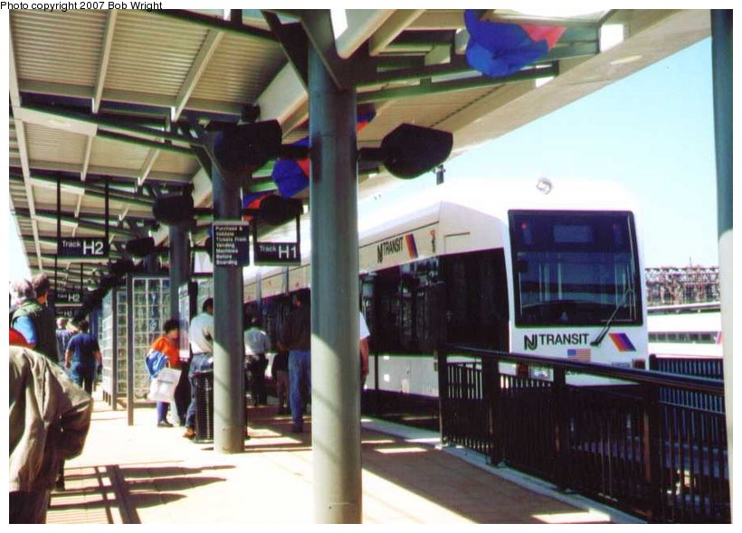 (95k, 820x590)<br><b>Country:</b> United States<br><b>City:</b> Hoboken, NJ<br><b>System:</b> Hudson Bergen Light Rail<br><b>Location:</b> Hoboken <br><b>Car:</b> NJT-HBLR LRV (Kinki-Sharyo, 1998-99)  2025 <br><b>Photo by:</b> Bob Wright<br><b>Date:</b> 9/29/2002<br><b>Viewed (this week/total):</b> 0 / 421