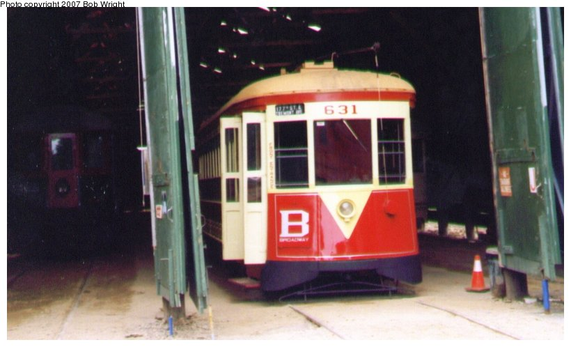 (68k, 820x498)<br><b>Country:</b> United States<br><b>City:</b> Kennebunk, ME<br><b>System:</b> Seashore Trolley Museum <br><b>Car:</b> TARS 631 <br><b>Photo by:</b> Bob Wright<br><b>Date:</b> 1997<br><b>Viewed (this week/total):</b> 0 / 655