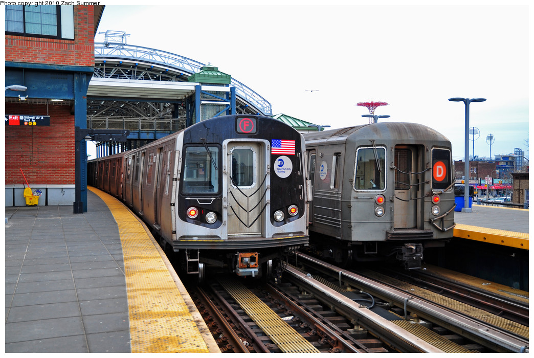 (278k, 1044x700)<br><b>Country:</b> United States<br><b>City:</b> New York<br><b>System:</b> New York City Transit<br><b>Location:</b> Coney Island/Stillwell Avenue<br><b>Route:</b> F<br><b>Car:</b> R-160B (Option 2) (Kawasaki, 2009)  9837 <br><b>Photo by:</b> Zach Summer<br><b>Date:</b> 3/10/2010<br><b>Notes:</b> With R68 2572 on the D<br><b>Viewed (this week/total):</b> 1 / 1221