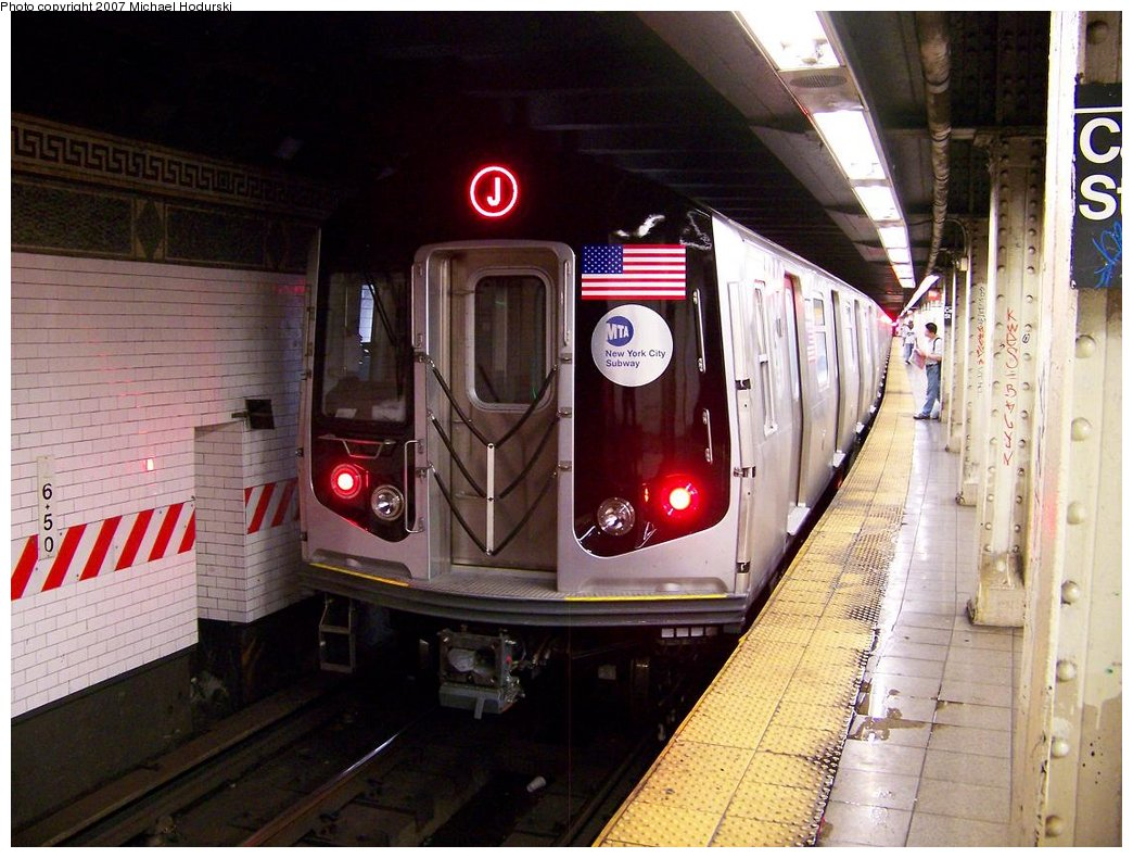 (188k, 1044x790)<br><b>Country:</b> United States<br><b>City:</b> New York<br><b>System:</b> New York City Transit<br><b>Line:</b> BMT Nassau Street/Jamaica Line<br><b>Location:</b> Canal Street <br><b>Route:</b> Testing<br><b>Car:</b> R-160A-1 (Alstom, 2005-2008, 4 car sets)  8380 <br><b>Photo by:</b> Michael Hodurski<br><b>Date:</b> 9/28/2007<br><b>Viewed (this week/total):</b> 1 / 3393