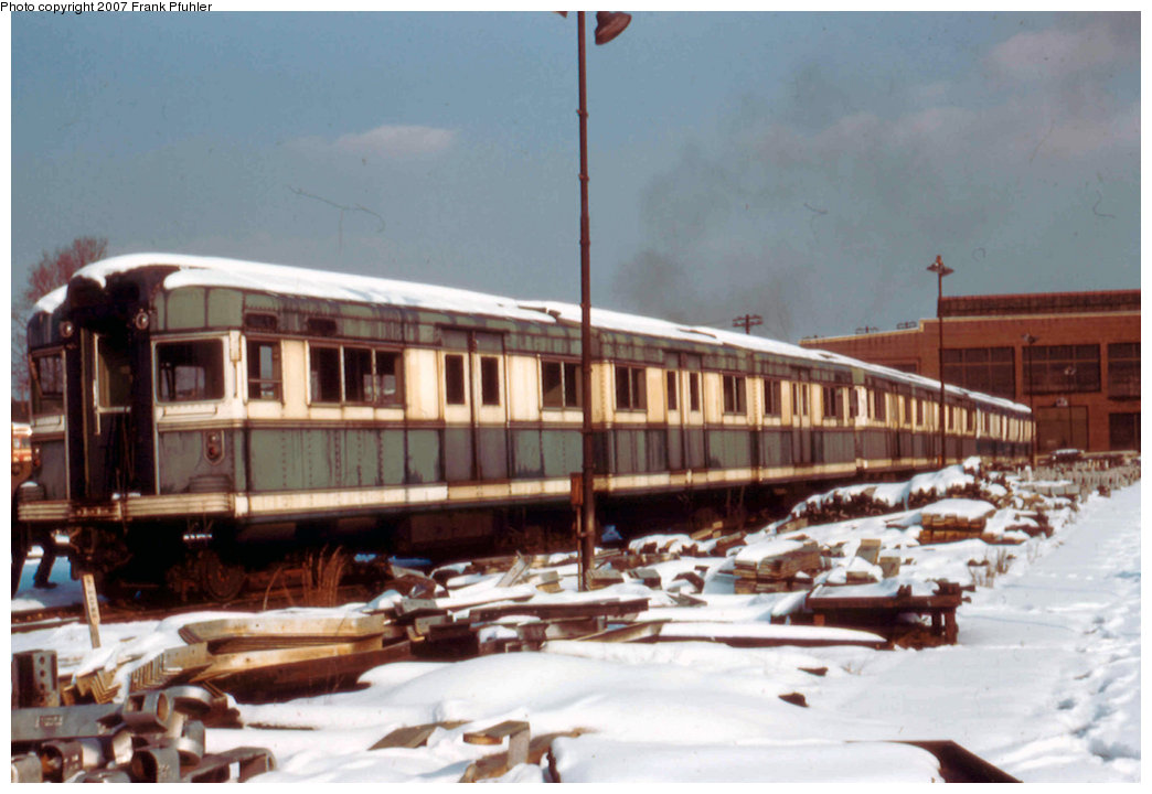 (186k, 1044x720)<br><b>Country:</b> United States<br><b>City:</b> New York<br><b>System:</b> New York City Transit<br><b>Location:</b> Coney Island Yard<br><b>Car:</b> BMT Bluebird 8002 <br><b>Photo by:</b> Frank Pfuhler<br><b>Date:</b> 2/2/1957<br><b>Viewed (this week/total):</b> 1 / 1778