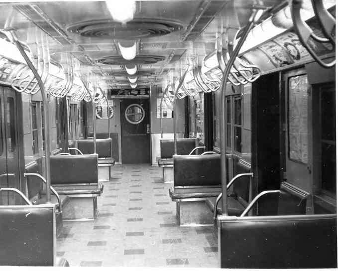 (32k, 679x544)<br><b>Country:</b> United States<br><b>City:</b> New York<br><b>System:</b> New York City Transit<br><b>Car:</b> R-16 (American Car & Foundry, 1955) Interior <br><b>Photo by:</b> Frank Pfuhler<br><b>Date:</b> 1/23/1955<br><b>Viewed (this week/total):</b> 4 / 2854