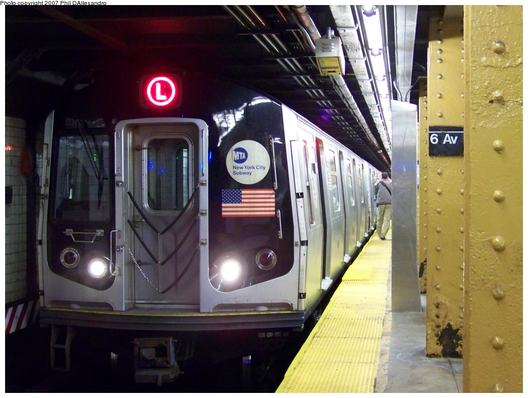 (172k, 1044x788)<br><b>Country:</b> United States<br><b>City:</b> New York<br><b>System:</b> New York City Transit<br><b>Line:</b> BMT Canarsie Line<br><b>Location:</b> 6th Avenue <br><b>Route:</b> L<br><b>Car:</b> R-143 (Kawasaki, 2001-2002) 8217 <br><b>Photo by:</b> Philip D'Allesandro<br><b>Date:</b> 10/13/2007<br><b>Viewed (this week/total):</b> 4 / 1692
