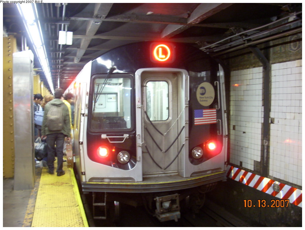 (182k, 1044x788)<br><b>Country:</b> United States<br><b>City:</b> New York<br><b>System:</b> New York City Transit<br><b>Line:</b> BMT Canarsie Line<br><b>Location:</b> 6th Avenue <br><b>Route:</b> L<br><b>Car:</b> R-143 (Kawasaki, 2001-2002) 8129 <br><b>Photo by:</b> Bill E.<br><b>Date:</b> 10/13/2007<br><b>Viewed (this week/total):</b> 1 / 1527