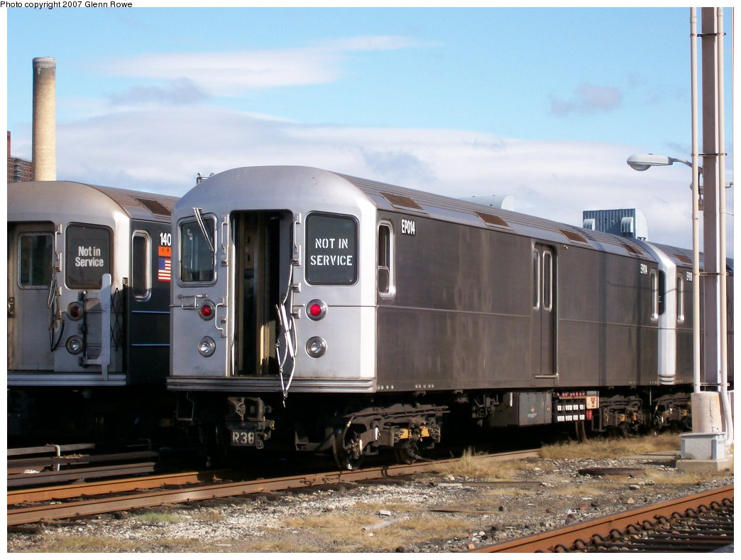 (157k, 1044x788)<br><b>Country:</b> United States<br><b>City:</b> New York<br><b>System:</b> New York City Transit<br><b>Location:</b> 207th Street Yard<br><b>Car:</b> R-127/R-134 (Kawasaki, 1991-1996) EP014 <br><b>Photo by:</b> Glenn L. Rowe<br><b>Date:</b> 10/12/2007<br><b>Viewed (this week/total):</b> 1 / 1831