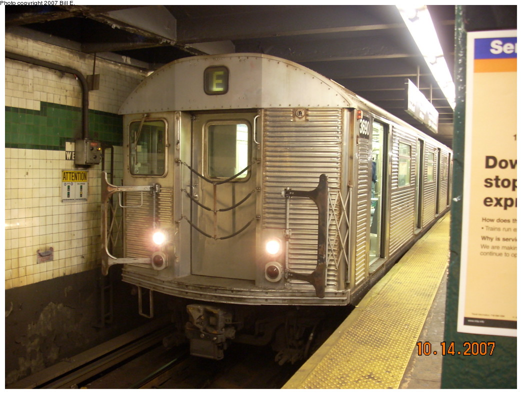 (240k, 1044x788)<br><b>Country:</b> United States<br><b>City:</b> New York<br><b>System:</b> New York City Transit<br><b>Line:</b> IND 8th Avenue Line<br><b>Location:</b> West 4th Street/Washington Square <br><b>Route:</b> E<br><b>Car:</b> R-32 (Budd, 1964)  3690 <br><b>Photo by:</b> Bill E.<br><b>Date:</b> 10/14/2007<br><b>Viewed (this week/total):</b> 2 / 2214