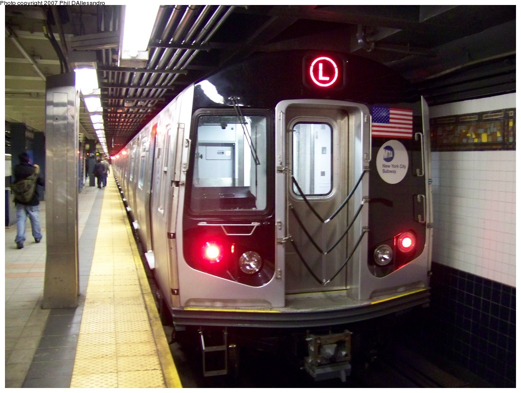 (200k, 1044x788)<br><b>Country:</b> United States<br><b>City:</b> New York<br><b>System:</b> New York City Transit<br><b>Line:</b> BMT Myrtle Avenue Line<br><b>Location:</b> Wyckoff Avenue <br><b>Route:</b> L<br><b>Car:</b> R-160A-1 (Alstom, 2005-2008, 4 car sets)  8364 <br><b>Photo by:</b> Philip D'Allesandro<br><b>Date:</b> 10/26/2007<br><b>Viewed (this week/total):</b> 3 / 1793