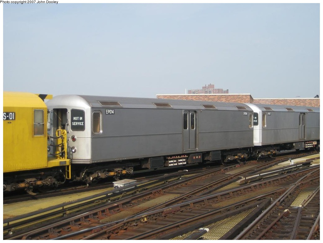 (161k, 1043x787)<br><b>Country:</b> United States<br><b>City:</b> New York<br><b>System:</b> New York City Transit<br><b>Location:</b> Coney Island/Stillwell Avenue<br><b>Route:</b> Work Service<br><b>Car:</b> R-127/R-134 (Kawasaki, 1991-1996) EP014 <br><b>Photo by:</b> John Dooley<br><b>Date:</b> 10/18/2007<br><b>Viewed (this week/total):</b> 0 / 1602