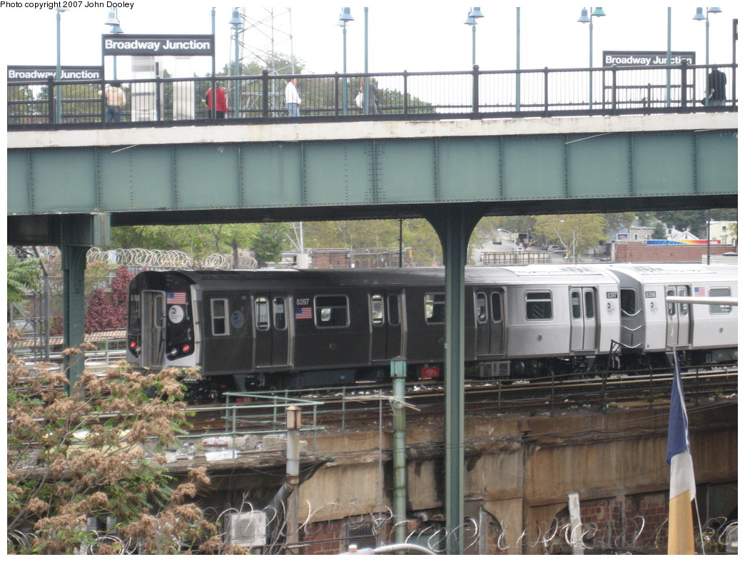 (249k, 1044x788)<br><b>Country:</b> United States<br><b>City:</b> New York<br><b>System:</b> New York City Transit<br><b>Location:</b> East New York Yard/Shops<br><b>Car:</b> R-160A-1 (Alstom, 2005-2008, 4 car sets)  8397 <br><b>Photo by:</b> John Dooley<br><b>Date:</b> 10/26/2007<br><b>Viewed (this week/total):</b> 3 / 2196