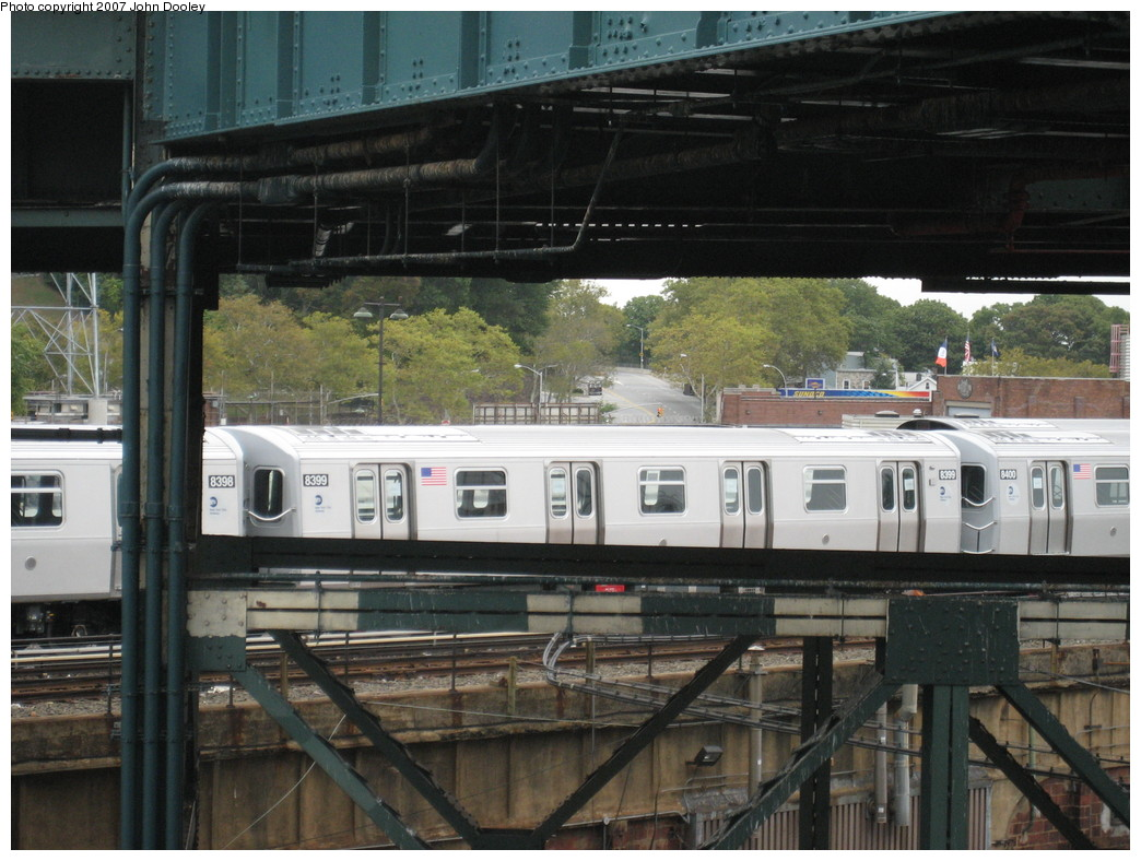 (230k, 1044x788)<br><b>Country:</b> United States<br><b>City:</b> New York<br><b>System:</b> New York City Transit<br><b>Location:</b> East New York Yard/Shops<br><b>Car:</b> R-160A-1 (Alstom, 2005-2008, 4 car sets)  8399 <br><b>Photo by:</b> John Dooley<br><b>Date:</b> 10/26/2007<br><b>Viewed (this week/total):</b> 2 / 1318
