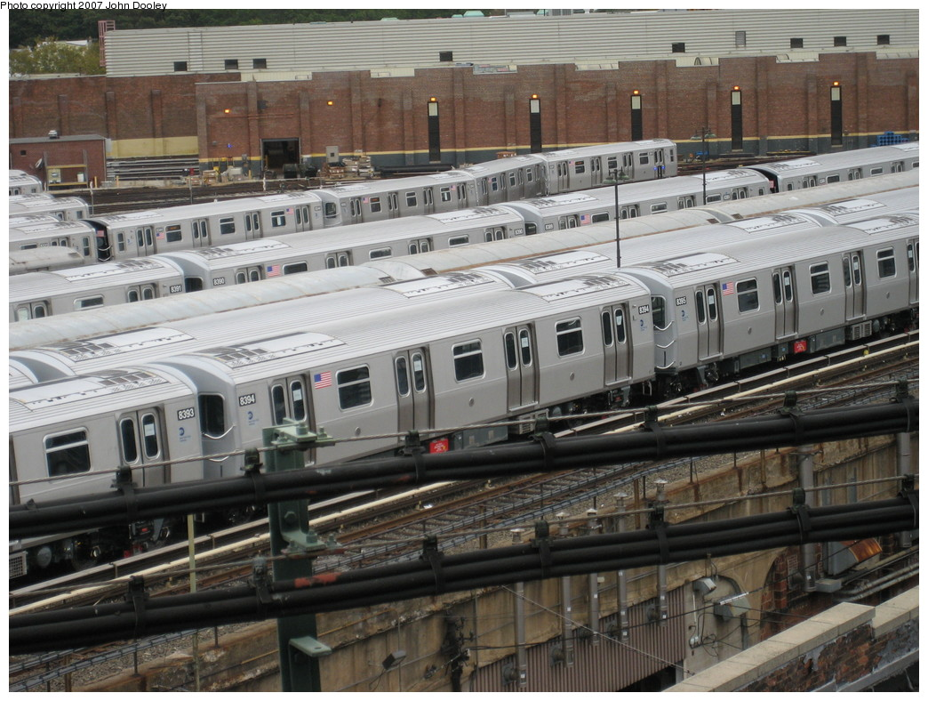 (257k, 1044x788)<br><b>Country:</b> United States<br><b>City:</b> New York<br><b>System:</b> New York City Transit<br><b>Location:</b> East New York Yard/Shops<br><b>Car:</b> R-160A-1 (Alstom, 2005-2008, 4 car sets)  8394 <br><b>Photo by:</b> John Dooley<br><b>Date:</b> 10/26/2007<br><b>Viewed (this week/total):</b> 1 / 1262