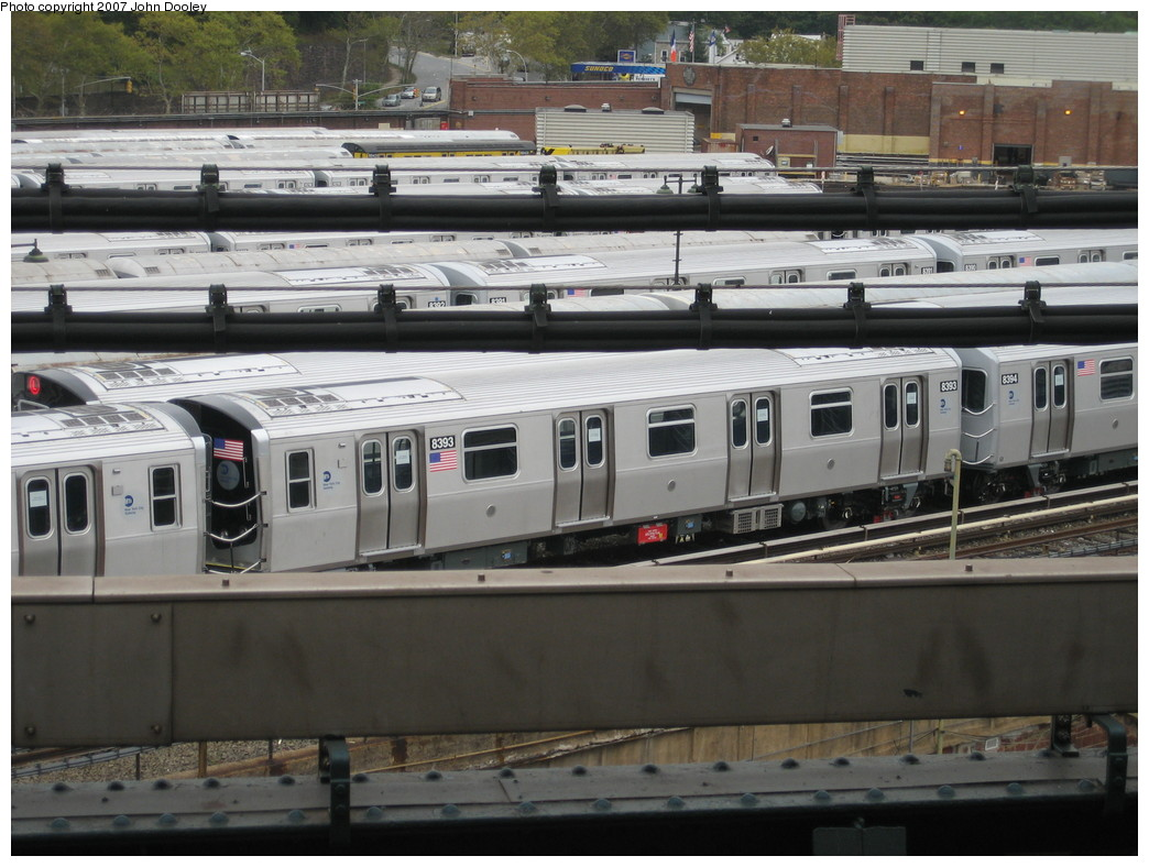 (216k, 1044x788)<br><b>Country:</b> United States<br><b>City:</b> New York<br><b>System:</b> New York City Transit<br><b>Location:</b> East New York Yard/Shops<br><b>Car:</b> R-160A-1 (Alstom, 2005-2008, 4 car sets)  8393 <br><b>Photo by:</b> John Dooley<br><b>Date:</b> 10/26/2007<br><b>Viewed (this week/total):</b> 0 / 1728