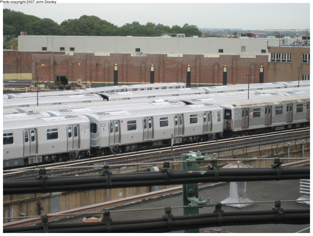 (228k, 1044x788)<br><b>Country:</b> United States<br><b>City:</b> New York<br><b>System:</b> New York City Transit<br><b>Location:</b> East New York Yard/Shops<br><b>Car:</b> R-160A-1 (Alstom, 2005-2008, 4 car sets)  8396 <br><b>Photo by:</b> John Dooley<br><b>Date:</b> 10/26/2007<br><b>Viewed (this week/total):</b> 0 / 951