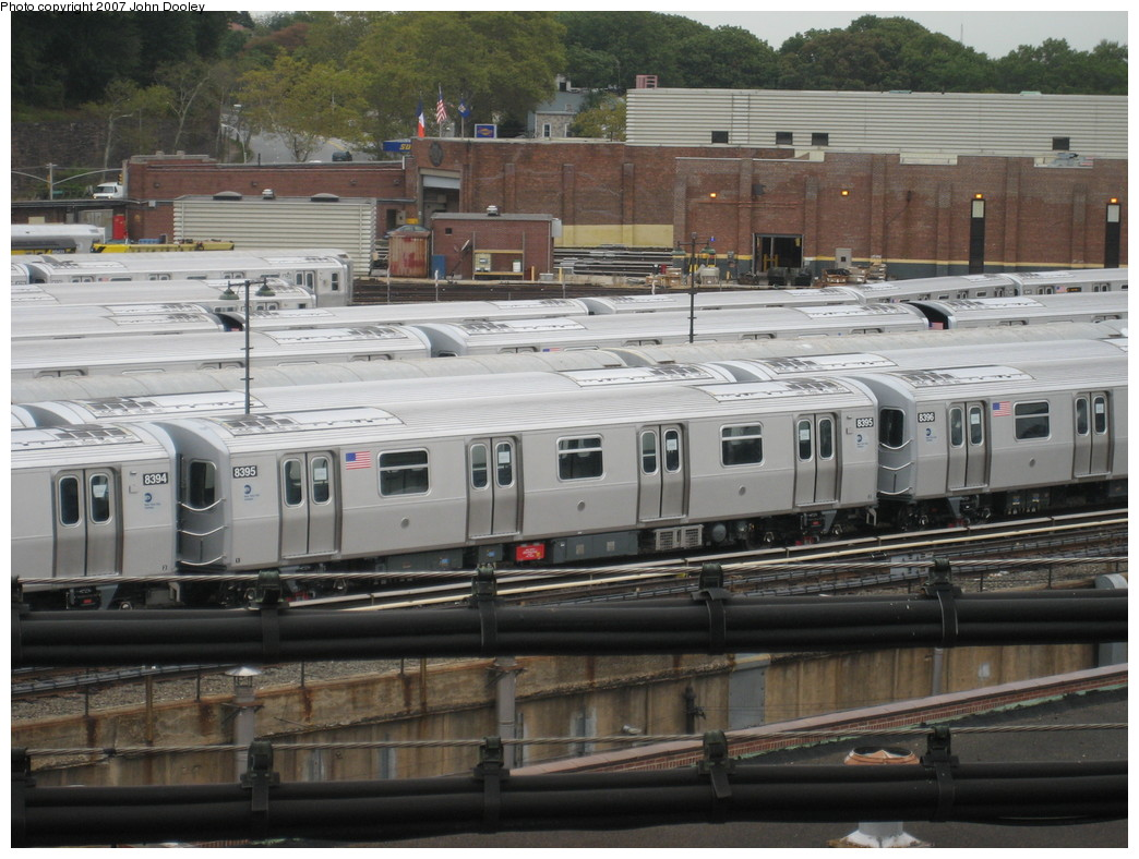 (228k, 1044x788)<br><b>Country:</b> United States<br><b>City:</b> New York<br><b>System:</b> New York City Transit<br><b>Location:</b> East New York Yard/Shops<br><b>Car:</b> R-160A-1 (Alstom, 2005-2008, 4 car sets)  8395 <br><b>Photo by:</b> John Dooley<br><b>Date:</b> 10/26/2007<br><b>Viewed (this week/total):</b> 0 / 1976