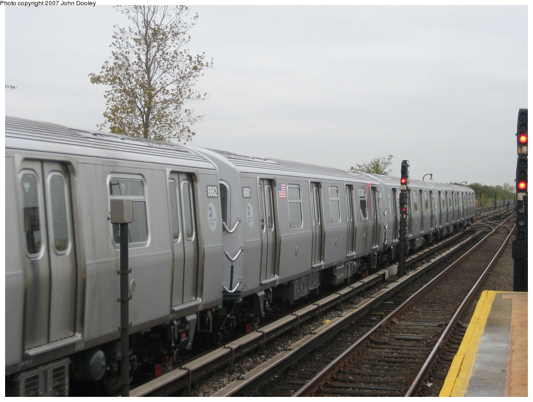 (185k, 1044x788)<br><b>Country:</b> United States<br><b>City:</b> New York<br><b>System:</b> New York City Transit<br><b>Line:</b> IND Rockaway<br><b>Location:</b> Broad Channel <br><b>Route:</b> Testing<br><b>Car:</b> R-160B (Kawasaki, 2005-2008)  8881 <br><b>Photo by:</b> John Dooley<br><b>Date:</b> 10/26/2007<br><b>Viewed (this week/total):</b> 10 / 2169