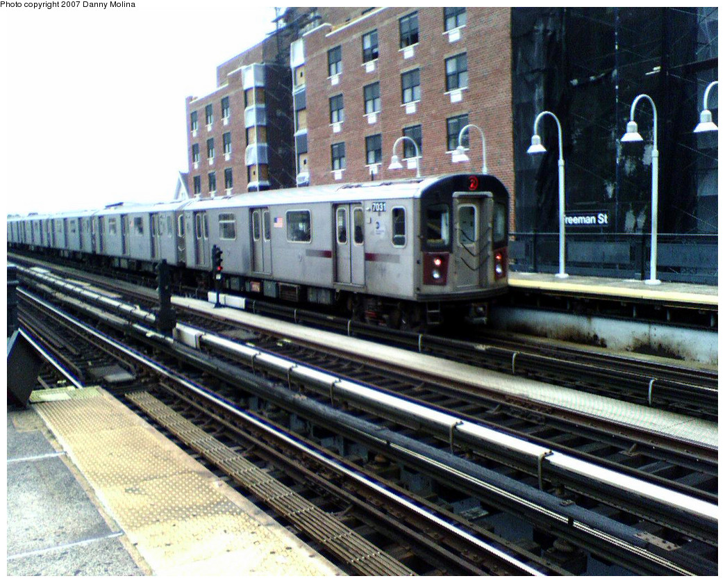 (351k, 1044x839)<br><b>Country:</b> United States<br><b>City:</b> New York<br><b>System:</b> New York City Transit<br><b>Line:</b> IRT White Plains Road Line<br><b>Location:</b> Freeman Street <br><b>Route:</b> 2<br><b>Car:</b> R-142 (Option Order, Bombardier, 2002-2003)  7031 <br><b>Photo by:</b> Danny Molina<br><b>Date:</b> 10/26/2007<br><b>Viewed (this week/total):</b> 3 / 2888