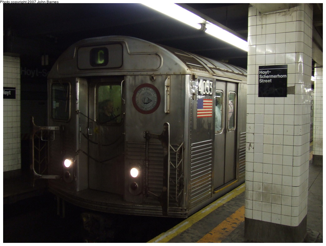 (173k, 1044x788)<br><b>Country:</b> United States<br><b>City:</b> New York<br><b>System:</b> New York City Transit<br><b>Line:</b> IND Fulton Street Line<br><b>Location:</b> Hoyt-Schermerhorn Street <br><b>Route:</b> C<br><b>Car:</b> R-38 (St. Louis, 1966-1967)  4053 <br><b>Photo by:</b> John Barnes<br><b>Date:</b> 9/11/2007<br><b>Viewed (this week/total):</b> 2 / 2392