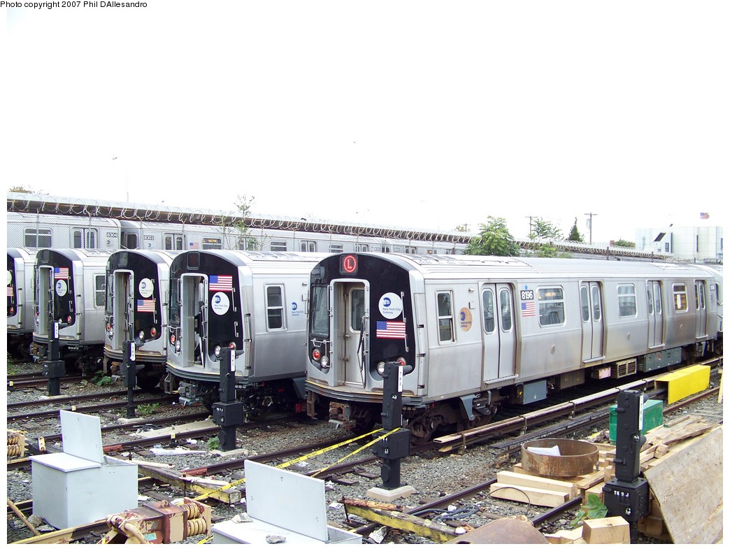 (227k, 1044x788)<br><b>Country:</b> United States<br><b>City:</b> New York<br><b>System:</b> New York City Transit<br><b>Location:</b> Rockaway Parkway (Canarsie) Yard<br><b>Car:</b> R-143 (Kawasaki, 2001-2002) 8196 <br><b>Photo by:</b> Philip D'Allesandro<br><b>Date:</b> 11/2/2007<br><b>Viewed (this week/total):</b> 1 / 3272