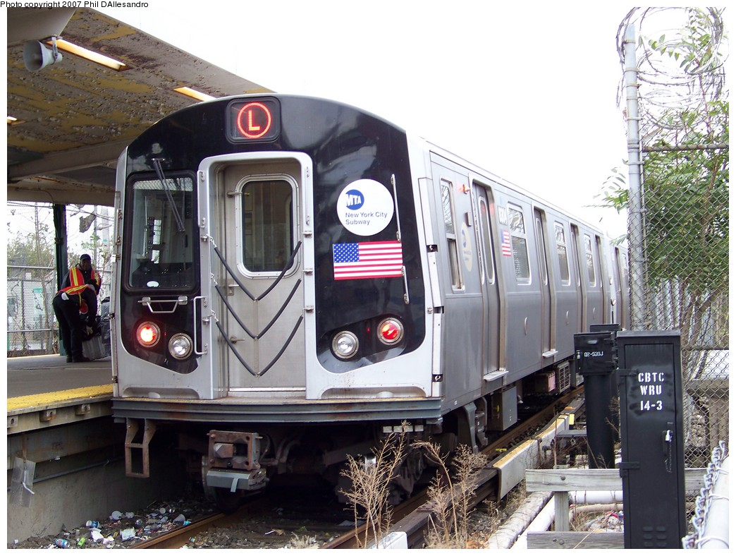 (260k, 1044x788)<br><b>Country:</b> United States<br><b>City:</b> New York<br><b>System:</b> New York City Transit<br><b>Line:</b> BMT Canarsie Line<br><b>Location:</b> Rockaway Parkway <br><b>Route:</b> L<br><b>Car:</b> R-143 (Kawasaki, 2001-2002) 8304 <br><b>Photo by:</b> Philip D'Allesandro<br><b>Date:</b> 11/2/2007<br><b>Viewed (this week/total):</b> 7 / 2305