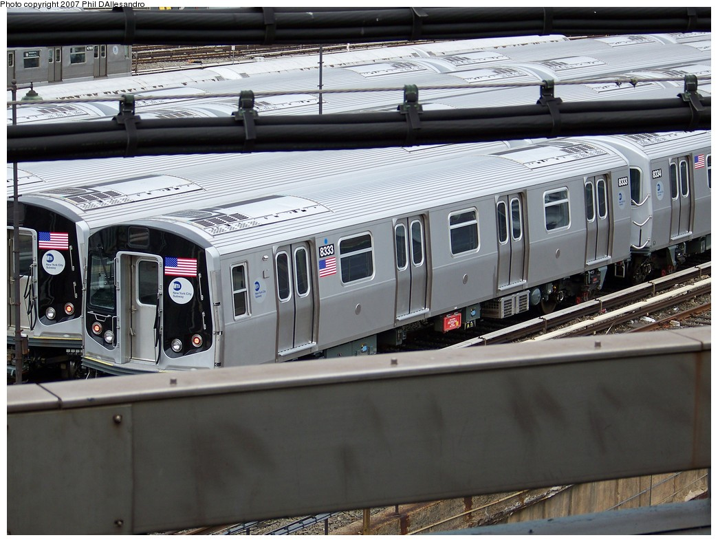 (230k, 1044x788)<br><b>Country:</b> United States<br><b>City:</b> New York<br><b>System:</b> New York City Transit<br><b>Location:</b> East New York Yard/Shops<br><b>Car:</b> R-160A-1 (Alstom, 2005-2008, 4 car sets)  8333 <br><b>Photo by:</b> Philip D'Allesandro<br><b>Date:</b> 11/2/2007<br><b>Viewed (this week/total):</b> 2 / 1096