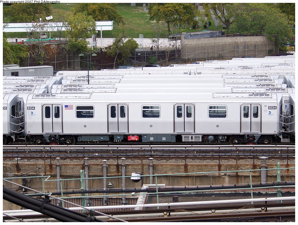 (328k, 1044x788)<br><b>Country:</b> United States<br><b>City:</b> New York<br><b>System:</b> New York City Transit<br><b>Location:</b> East New York Yard/Shops<br><b>Car:</b> R-160A-1 (Alstom, 2005-2008, 4 car sets)  8334 <br><b>Photo by:</b> Philip D'Allesandro<br><b>Date:</b> 11/2/2007<br><b>Viewed (this week/total):</b> 3 / 1381