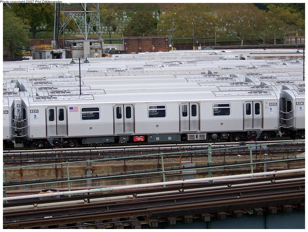(314k, 1044x788)<br><b>Country:</b> United States<br><b>City:</b> New York<br><b>System:</b> New York City Transit<br><b>Location:</b> East New York Yard/Shops<br><b>Car:</b> R-160A-1 (Alstom, 2005-2008, 4 car sets)  8335 <br><b>Photo by:</b> Philip D'Allesandro<br><b>Date:</b> 11/2/2007<br><b>Viewed (this week/total):</b> 1 / 1986