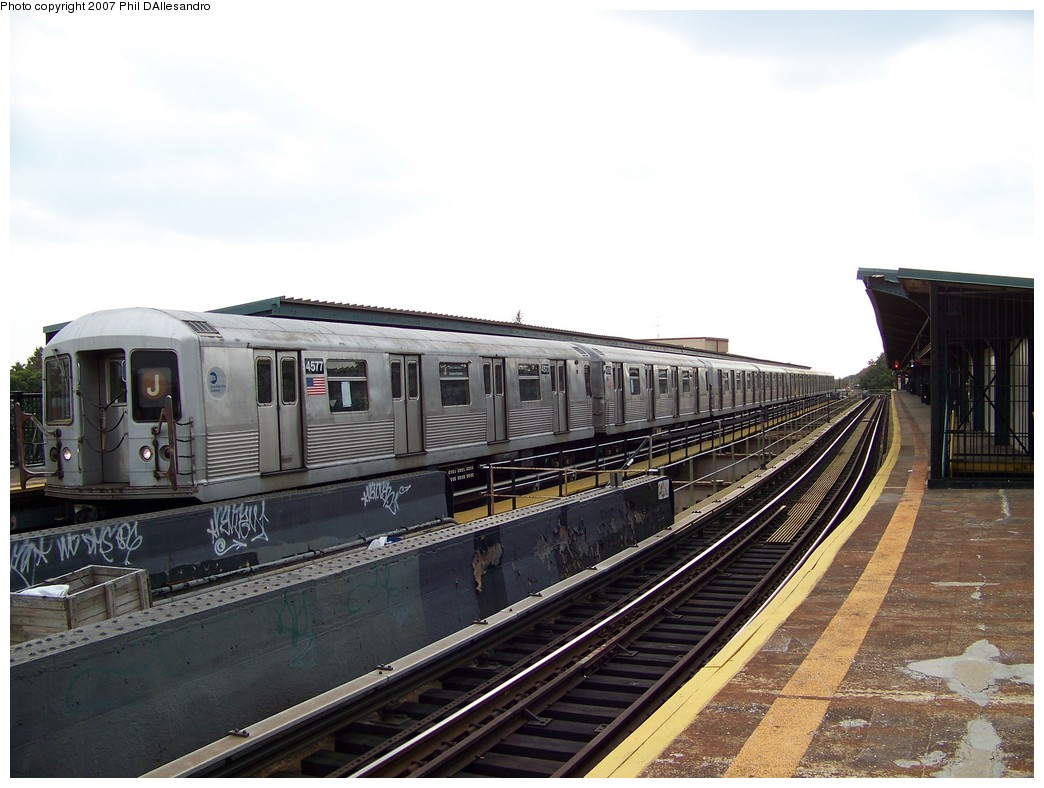 (203k, 1044x788)<br><b>Country:</b> United States<br><b>City:</b> New York<br><b>System:</b> New York City Transit<br><b>Line:</b> BMT Nassau Street/Jamaica Line<br><b>Location:</b> Cypress Hills <br><b>Route:</b> J<br><b>Car:</b> R-42 (St. Louis, 1969-1970)  4577 <br><b>Photo by:</b> Philip D'Allesandro<br><b>Date:</b> 11/4/2007<br><b>Viewed (this week/total):</b> 1 / 1200