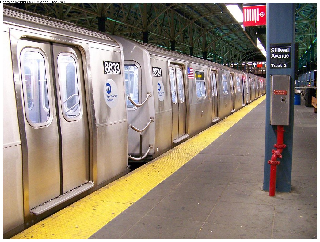 (251k, 1044x790)<br><b>Country:</b> United States<br><b>City:</b> New York<br><b>System:</b> New York City Transit<br><b>Location:</b> Coney Island/Stillwell Avenue<br><b>Route:</b> N<br><b>Car:</b> R-160B (Kawasaki, 2005-2008)  8834 <br><b>Photo by:</b> Michael Hodurski<br><b>Date:</b> 11/2/2007<br><b>Viewed (this week/total):</b> 3 / 1811