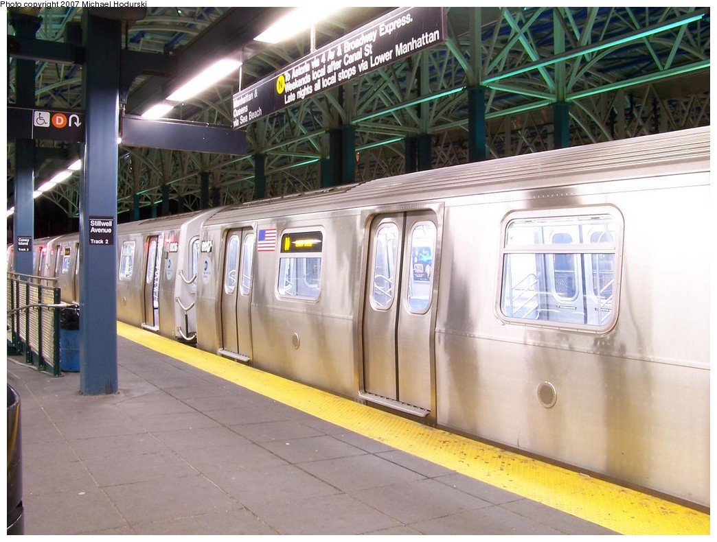 (216k, 1044x790)<br><b>Country:</b> United States<br><b>City:</b> New York<br><b>System:</b> New York City Transit<br><b>Location:</b> Coney Island/Stillwell Avenue<br><b>Route:</b> N<br><b>Car:</b> R-160B (Kawasaki, 2005-2008)  8837 <br><b>Photo by:</b> Michael Hodurski<br><b>Date:</b> 11/2/2007<br><b>Viewed (this week/total):</b> 2 / 1443