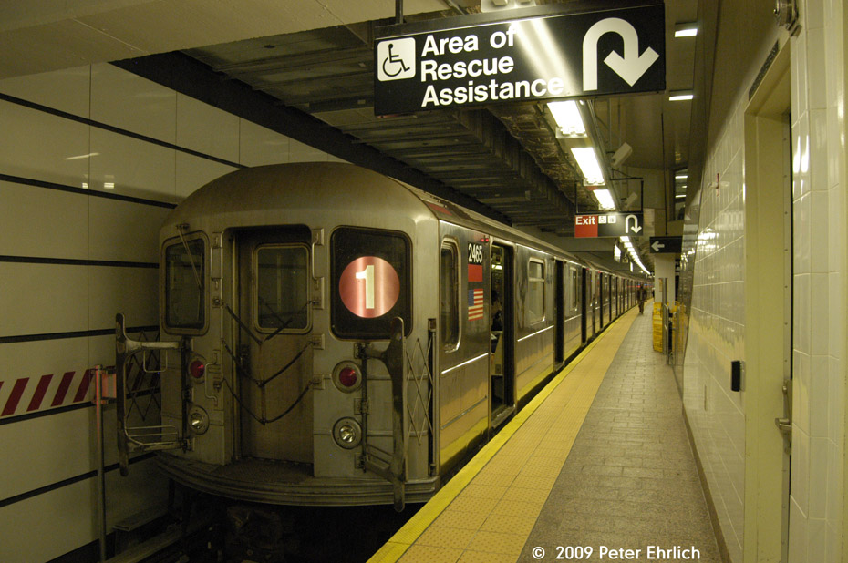(202k, 930x618)<br><b>Country:</b> United States<br><b>City:</b> New York<br><b>System:</b> New York City Transit<br><b>Line:</b> IRT West Side Line<br><b>Location:</b> South Ferry (New Station) <br><b>Route:</b> 1<br><b>Car:</b> R-62A (Bombardier, 1984-1987)  2465 <br><b>Photo by:</b> Peter Ehrlich<br><b>Date:</b> 7/22/2009<br><b>Viewed (this week/total):</b> 0 / 706