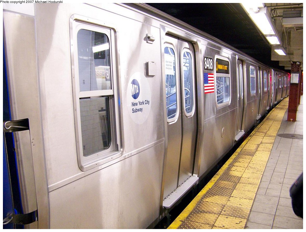 (223k, 1044x790)<br><b>Country:</b> United States<br><b>City:</b> New York<br><b>System:</b> New York City Transit<br><b>Line:</b> BMT Nassau Street/Jamaica Line<br><b>Location:</b> Essex Street <br><b>Route:</b> Testing<br><b>Car:</b> R-160A-1 (Alstom, 2005-2008, 4 car sets)  8408 <br><b>Photo by:</b> Michael Hodurski<br><b>Date:</b> 11/6/2007<br><b>Viewed (this week/total):</b> 1 / 1907