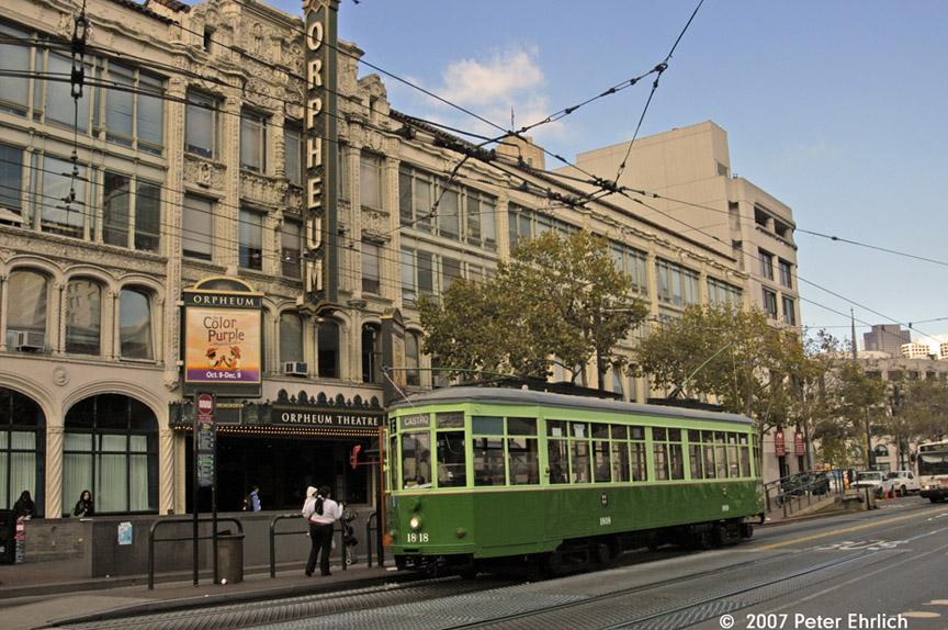 (229k, 864x574)<br><b>Country:</b> United States<br><b>City:</b> San Francisco/Bay Area, CA<br><b>System:</b> SF MUNI<br><b>Location:</b> Market/8th/Hyde/Grove/Civic Ctr. <br><b>Car:</b> Milan Milano/Peter Witt (1927-1930)  1818 <br><b>Photo by:</b> Peter Ehrlich<br><b>Date:</b> 11/9/2007<br><b>Notes:</b> Market/8th Street outbound.<br><b>Viewed (this week/total):</b> 0 / 430