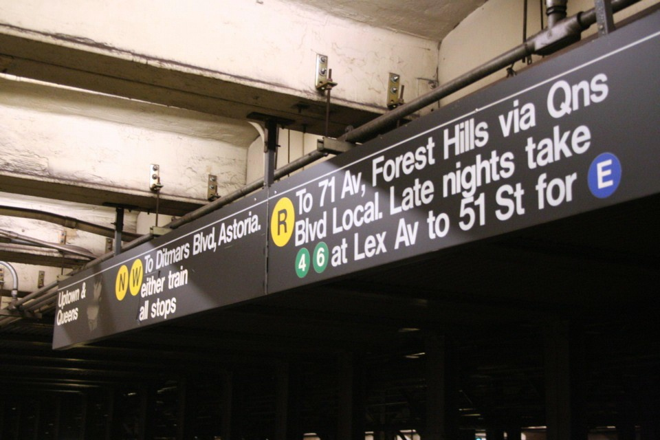 (187k, 960x640)<br><b>Country:</b> United States<br><b>City:</b> New York<br><b>System:</b> New York City Transit<br><b>Line:</b> BMT Broadway Line<br><b>Location:</b> 49th Street <br><b>Photo by:</b> Todd Glickman<br><b>Date:</b> 11/12/2007<br><b>Notes:</b> Signage view.<br><b>Viewed (this week/total):</b> 3 / 2234