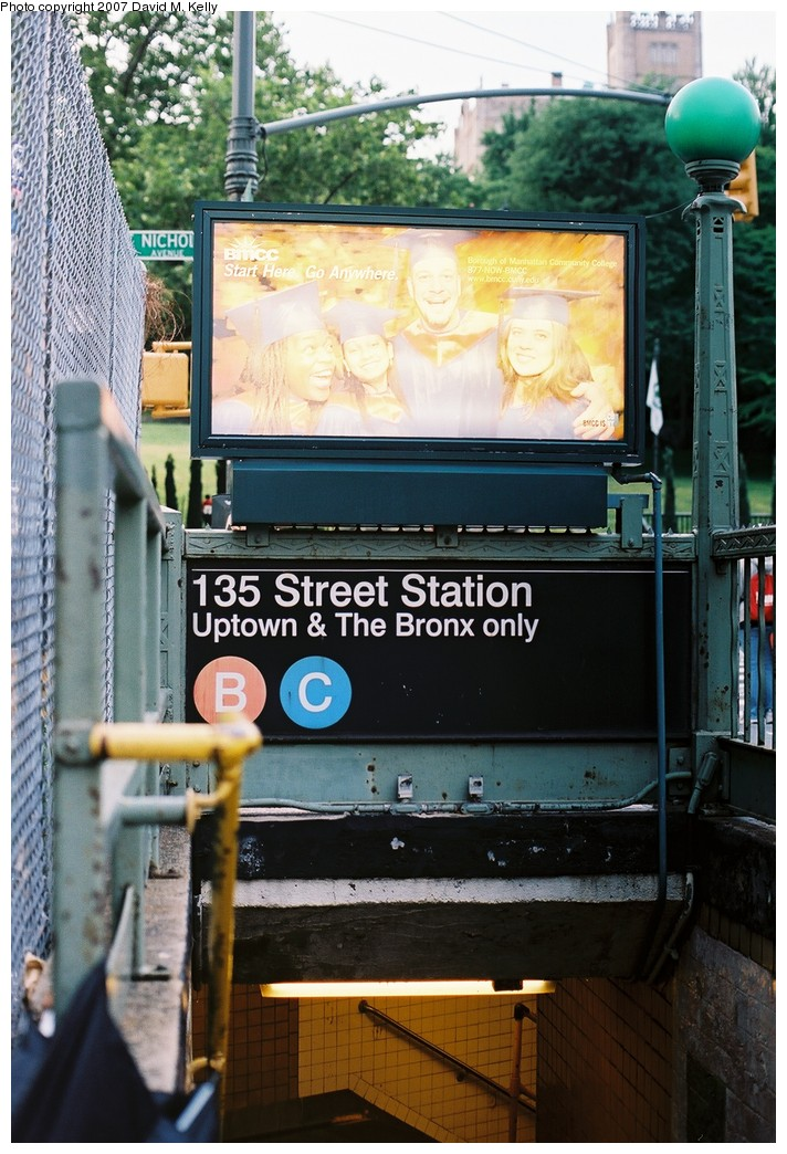 (207k, 712x1044)<br><b>Country:</b> United States<br><b>City:</b> New York<br><b>System:</b> New York City Transit<br><b>Line:</b> IND 8th Avenue Line<br><b>Location:</b> 135th Street <br><b>Photo by:</b> David M. Kelly<br><b>Date:</b> 2007<br><b>Notes:</b> Station entrance.<br><b>Viewed (this week/total):</b> 1 / 2405