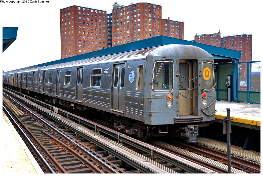 (317k, 1044x700)<br><b>Country:</b> United States<br><b>City:</b> New York<br><b>System:</b> New York City Transit<br><b>Line:</b> BMT Brighton Line<br><b>Location:</b> West 8th Street <br><b>Route:</b> Q<br><b>Car:</b> R-68A (Kawasaki, 1988-1989)  5036 <br><b>Photo by:</b> Zach Summer<br><b>Date:</b> 3/10/2010<br><b>Viewed (this week/total):</b> 0 / 752