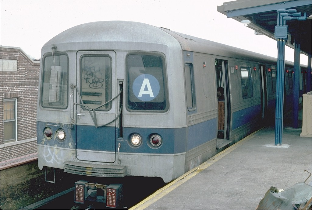 (183k, 1024x691)<br><b>Country:</b> United States<br><b>City:</b> New York<br><b>System:</b> New York City Transit<br><b>Line:</b> IND Fulton Street Line<br><b>Location:</b> Lefferts Boulevard <br><b>Route:</b> A<br><b>Car:</b> R-44 (St. Louis, 1971-73) 184 <br><b>Photo by:</b> Steve Zabel<br><b>Collection of:</b> Joe Testagrose<br><b>Date:</b> 3/13/1982<br><b>Viewed (this week/total):</b> 2 / 1757