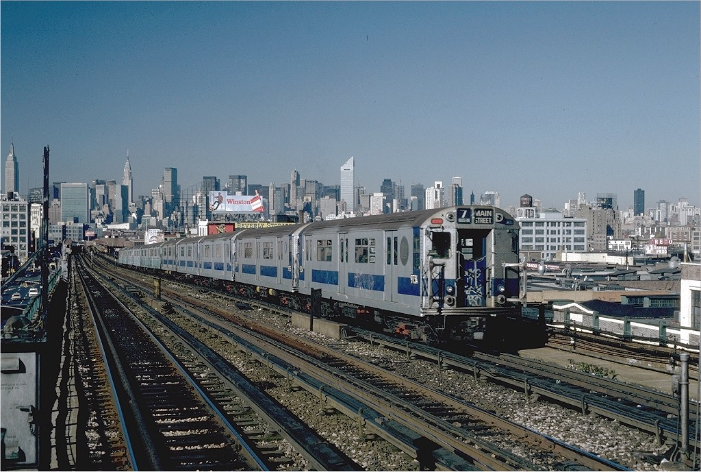 (260k, 1024x689)<br><b>Country:</b> United States<br><b>City:</b> New York<br><b>System:</b> New York City Transit<br><b>Line:</b> IRT Flushing Line<br><b>Location:</b> 40th Street/Lowery Street <br><b>Route:</b> 7<br><b>Car:</b> R-36 World's Fair (St. Louis, 1963-64) 9734 <br><b>Photo by:</b> Steve Zabel<br><b>Collection of:</b> Joe Testagrose<br><b>Date:</b> 11/3/1981<br><b>Viewed (this week/total):</b> 1 / 2160