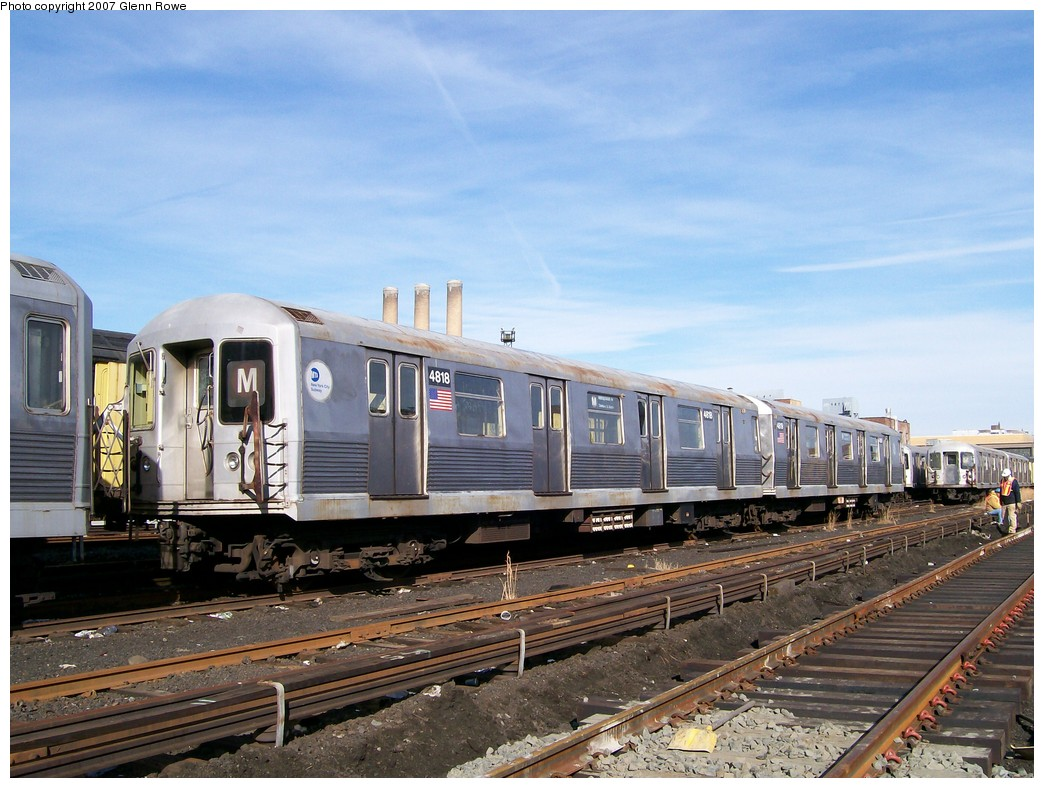 (220k, 1044x788)<br><b>Country:</b> United States<br><b>City:</b> New York<br><b>System:</b> New York City Transit<br><b>Location:</b> 207th Street Yard<br><b>Car:</b> R-42 (St. Louis, 1969-1970)  4818 <br><b>Photo by:</b> Glenn L. Rowe<br><b>Date:</b> 11/28/2007<br><b>Notes:</b> Cars involved in bumper block hit at Chambers Street, 11/6/2007.<br><b>Viewed (this week/total):</b> 2 / 1672