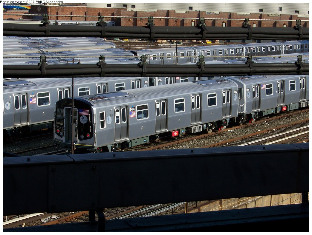 (252k, 1044x788)<br><b>Country:</b> United States<br><b>City:</b> New York<br><b>System:</b> New York City Transit<br><b>Location:</b> East New York Yard/Shops<br><b>Car:</b> R-160A-1 (Alstom, 2005-2008, 4 car sets)  8413 <br><b>Photo by:</b> Philip D'Allesandro<br><b>Date:</b> 12/1/2007<br><b>Viewed (this week/total):</b> 4 / 2158