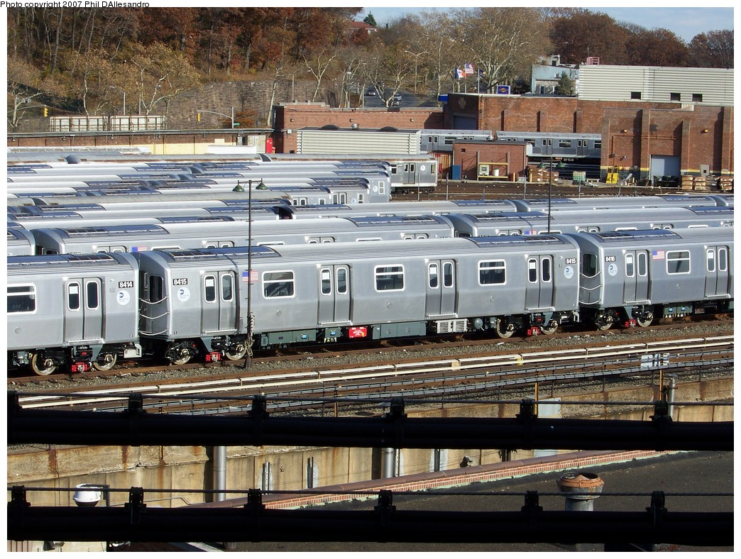 (320k, 1044x788)<br><b>Country:</b> United States<br><b>City:</b> New York<br><b>System:</b> New York City Transit<br><b>Location:</b> East New York Yard/Shops<br><b>Car:</b> R-160A-1 (Alstom, 2005-2008, 4 car sets)  8415 <br><b>Photo by:</b> Philip D'Allesandro<br><b>Date:</b> 12/1/2007<br><b>Viewed (this week/total):</b> 2 / 1543